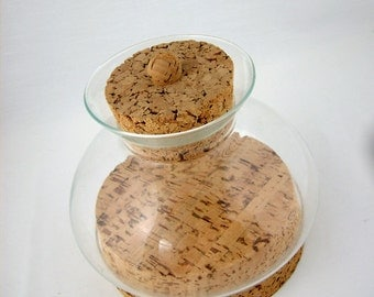 Mid Century Modern Cork and Glass Canister by Good Grief, California 1970s