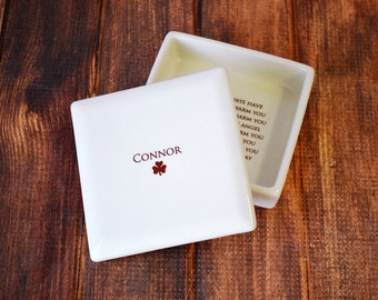 Personalized Baptism Gift or First Communion Gift - With Irish Blessing - Square Keepsake Box - With Gift Box