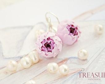 Purple flower earrings, dangle earrings, floral earrings, flower jewelry, purple earrings, handmade earrings, purple peony earrings, peony