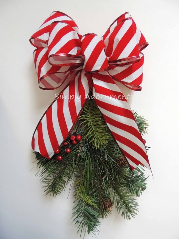 Christmas Candy Cane Bow Indoor / Outdoor Red White Christmas Bow Mailbox Christmas Candy Cane Bow Red White Stripes Christmas Door Bow