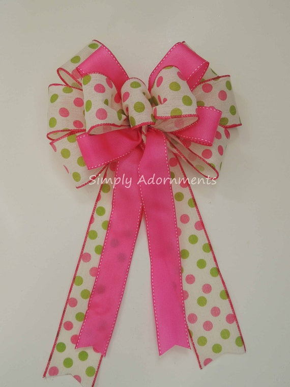 Pink Green Easter Wreath Bow Pink Green Birthday Party Decor Pink Lime Polka Dots Baby Shower Decor Spring dots Decor Handmade Gift Bow