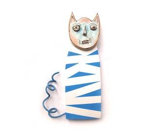 Blue cat, Cat sculpture, Funky cat, Cat art scupture, Wall art cat sculpture, Ceramic cat, Wallhangin cat, Crazy cat