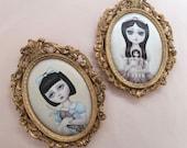 The Haunted Doll - ONE OFF framed vintage silk print vintage art, big eyes, Lolita
