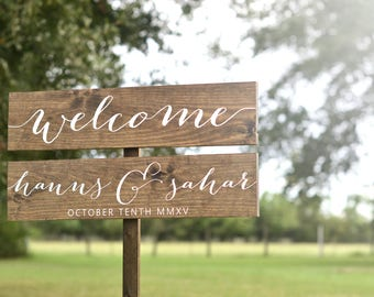 Wedding Welcome Sign, Welcome Wedding Sign, Wedding Name Sign, Wedding Arrow Sign, Wedding Initials Sign, Directional Wedding Sign