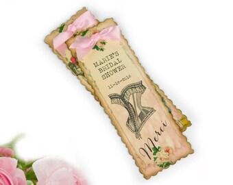 20 Custom Bridal Shower Favors, Paris Party Favors, Corset Bookmarks, Lingerie Shower Favors, Quincieñera Favors, Pink, French Bookmarks