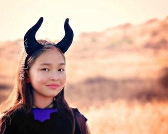 Maleficent Horns Headband // Maleficent Headpiece // Maleficent Headband // Evil Queen headdress // by Born TuTu Rock