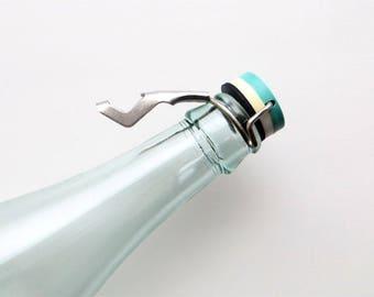 Vintage Bottle Topper Bottle Stopper Soviet Union 80s Vintage Barware Turquoise Plastic Dolphin Narrow Straight Neck Bottles