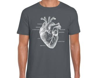 Heart Shirt | Men's Graphic tshirt | Anatomy t-shirt | Screen print | Gift for Nurse | Medical shirt | Doctor Shirt | Men's T-shirts |