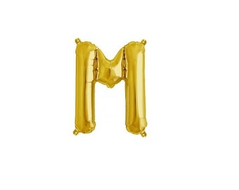 """Letter M - Gold 16"""" Mylar Letter Balloon, Wedding, Bridal Shower, 1st Birthday, Photo Prop, Name Banner, Baby Shower, Baby Name, Party"""