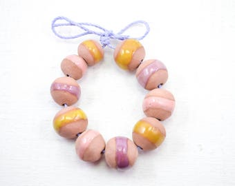 10 Handcrafted Ceramic Beads - Pastel - Unique Assortment - Earthy - Striped- Handmade - Round- Pottery beads - Brownstone - Bead Set Y451