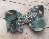 Silver glitter hair bow - silver bow, 3 inch bow, boutique bow, girls hair bows, toddler bows, girls bows, glitter bows, silver bows