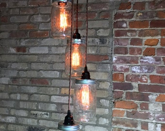 Mason Jar Chandelier Light - Wide Mouth Mason Jars - Hanging Pendant Lights - Clear Quart Jar Lighting for your Edison Style Bulbs