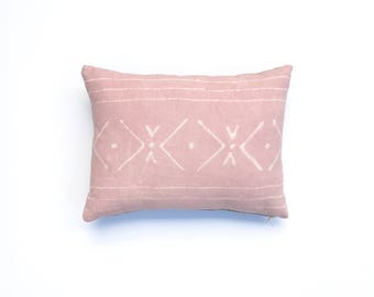 Blush Pink Pillow Cover with Tribal Pattern Dusty Rose Pillow Cover Decorative Throw Pillow 12 x 16 Light Pink Cushion Cover