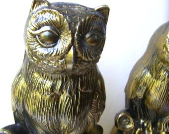 Vintage Owl Bookends - Metal Bookends - Vintage Home Decor - 1970s Decor