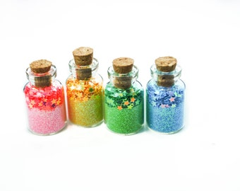 Magic of a Unicorn, rainbow, stars, Unicorn Party, Unicorn Favor, Castle, Fairy, Faerie, Faery, Pink, Yellow, Green, Blue, Cork Jars