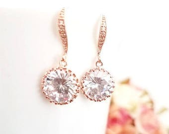 Rose Gold Wedding Jewelry, Bridesmaid Bridal Jewelry,Bridal Gift ,Drop, LUX Cubic earrigs,Clear Earrings, Statement Bridesmaid GIFT