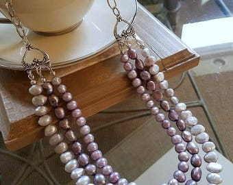 Pearl Necklace, Beaded Necklace, Pearl Jewelry, Long Necklace, Freshwater Pearl Necklace, Multi Strand Necklace, Purple Pearl Necklace