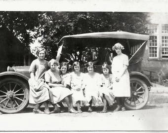 Old Photo Group of Women Sitting on Car Runner 1920s Photograph Snapshot vintage