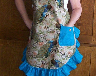 Peacock Ruffled Retro Apron with Turquoise - One Size Fits Most