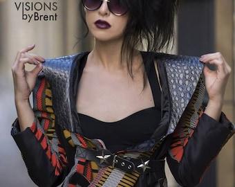 Jacket/Striped Jacket/Genuine Leather Jacket/Punk Jacket/Handmade Jacket/Designer Jacket/Looks Good Anya Jacket/Black Jacket/Custom Jacket