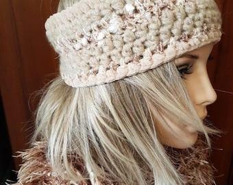 Camel  Ear Warmer, Wide Headband, Hand Knit  Mohair Yarn Headband, Knit Headband for Women,  crochet headband, Women's Gift, Turban Adult
