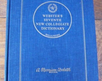 Vintage Webster's Seventh New Collegiate Dictionary with Thumb Indexing.1963 Dictionary.Dictionary Print.Dictionary Paper.History Classroom.