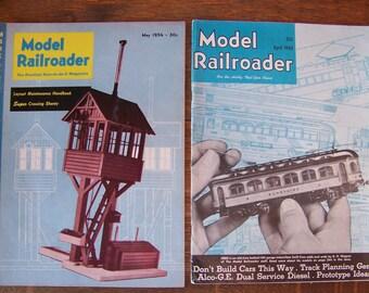 Vintage Model Railroader Magazines (set of 2)1948 & 1954.Model Trains.Model Railroad.Electric Trains.Train Theme Party.Train Decorations.