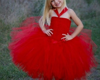 Red Tutu Dress, Toddler Red Tutu, Red Flower Girl Dress