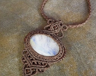Macrame Pendant, Macrame Necklace, Moonstone Pendant, Moonstone Necklace, Brown Macrame Necklace