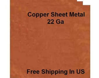 22 Ga Solid Copper Sheet Metal Assorted Sizes Available / Made In USA