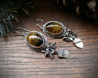 Tiger Eye and Sterling Silver Earrings, Handcrafted Nature Details, Acorn, Oak Leaves. Fall Autumn Earrings. Tan and Brown Tiger Eye Stones.