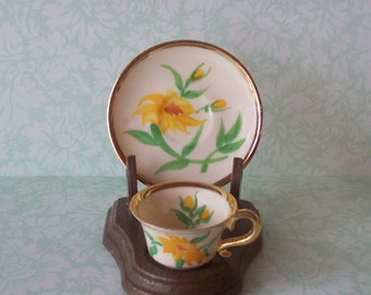 Mini Yellow Flower Cup and Saucer Rose Crown Bone China