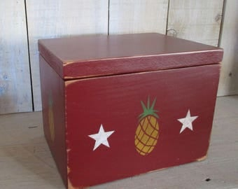 Primitive Recipe Box, Index Cards, Photo Box - Pineapples and Stars, Hinged Lid