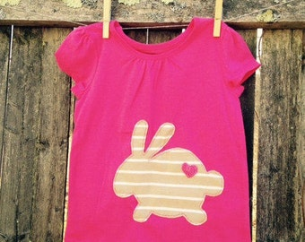 Pink -a- licious Easter Bunny Kids T shirt READY TO SHIP 3T