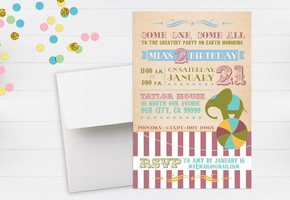 Vintage Circus Birthday Party Invitation // Vintage Circus // Circus Birthday Invitation // Elephant Invitation