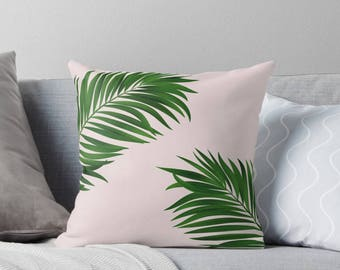 Palm tree print pillow, green pillow, customised decor, home decor, gift for her, Palm tree decor, tropical decor, Summer decor