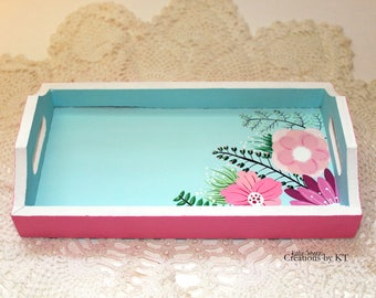 Wooden Floral Tray Jewelry Tray Turquoise Pink Light Blue Vanity Tray