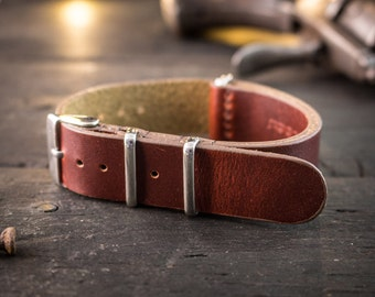 18mm Dark English Red genuie leather nato strap, vintage style strap, watch strap, watch band, leather strap