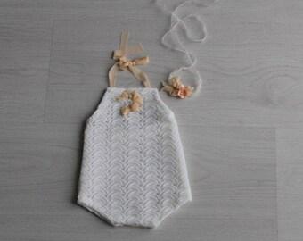 Newborn lace romper Newborn photography prop Newborn girl lace romper Baby girl photo prop romper Newborn overall White lace photo prop