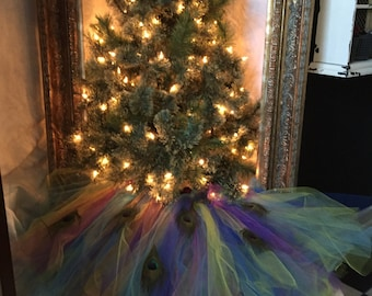 Peacock tree skirt | Etsy