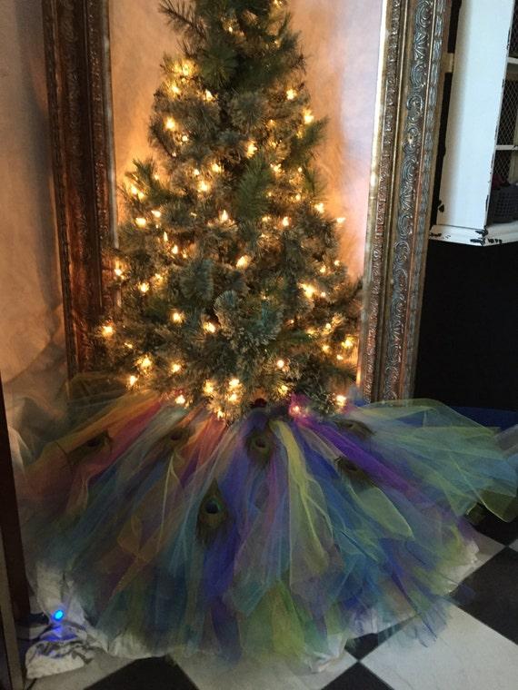Peacock christmas tree skirt for