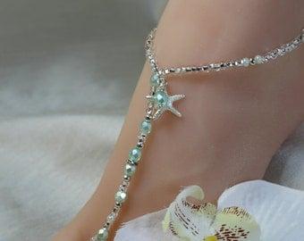 Aqua Beach Wedding Barefoot Sandals Blue Barefoot Sandals Bridal Foot Jewelry Starfish Barefoot Sandals Footless Sandals Bridal Shoes