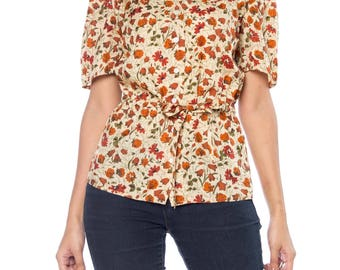 Cacharel Floral Print Short Sleeve Top With Drawstring Waist Size: 6