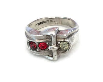 Vintage THEDA Buckle Ring in Sterling Silver Red and White Rhinestones SZ 8.5 Retro Rockabilly Princess