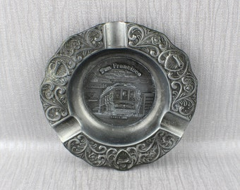 A San Francisco Cabel Car Pewter Ashtrays Round Ornate Metal Design