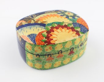 Indian Small Lacquered Box lacquer Surface with Painted Skipping Children and Flowers