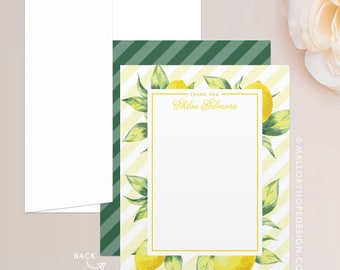 Lemon Stationery Set, Note Card, Thank You Card w/ Envelope - Personal Stationery, Lemon Thank You Card, Customize w/ Name or Monogram