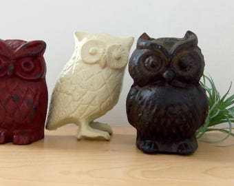 Vintage Cast Iron Owls/Retro Home Decor/Bird Figurines *Price Includes Domestic Shipping