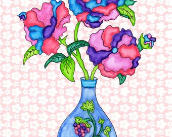 Painting / Art Print / Flower Nature Garden / Unique Artwork Gift /Mother Children  Nursery Baby Shower Girl's Room / Blue Flower Vase