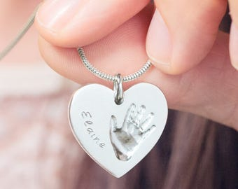 """Custom handprint necklace pendant """"Heart"""" with an actual handprint and name engraving - personalized handprint necklace, baby own handprint"""